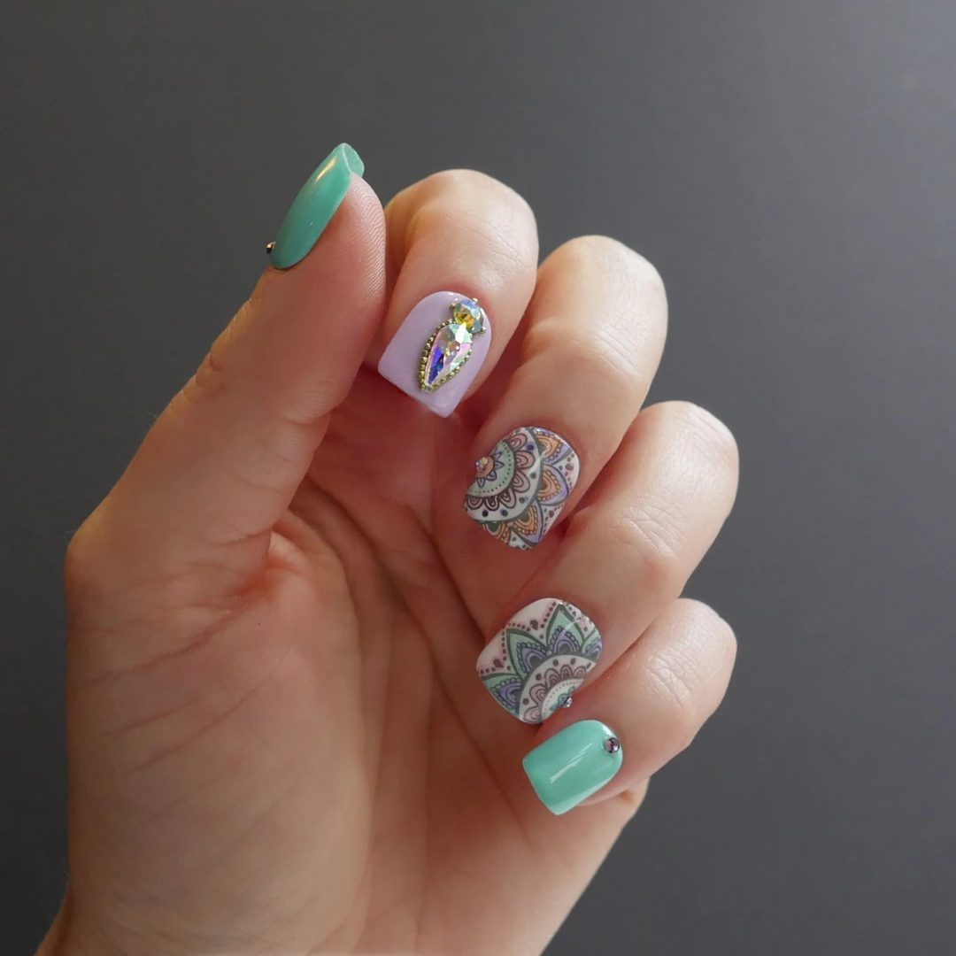 Lavender and mint green tribal print nails