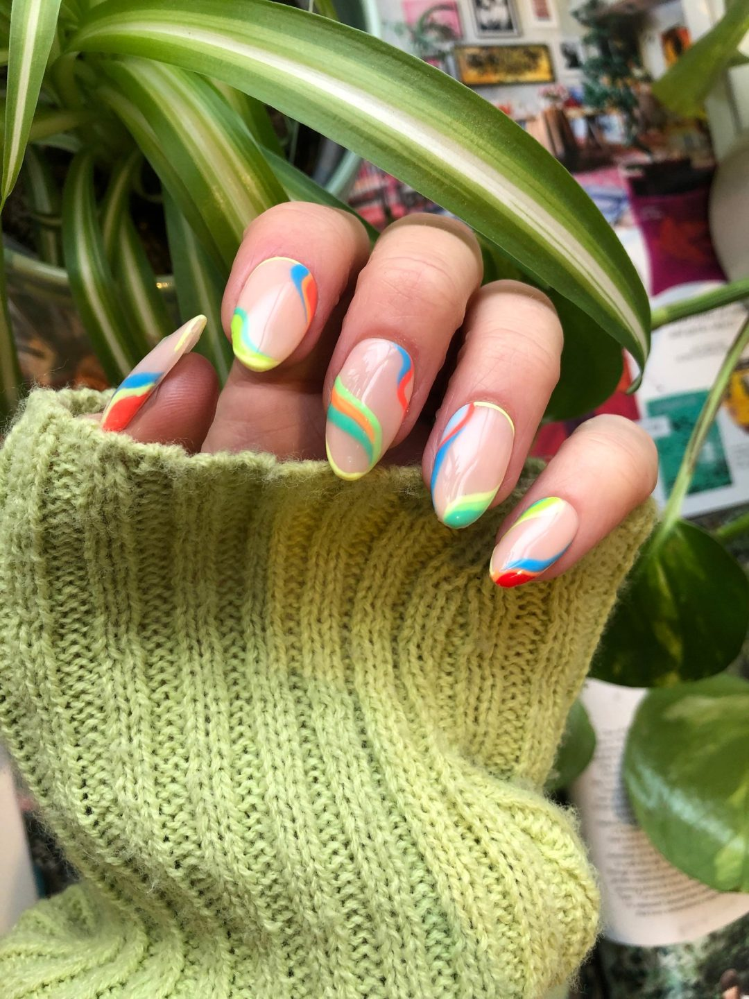 Clear nails with multicolor swirls