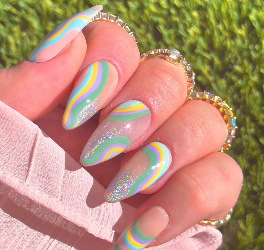 Multicolor abstract birthday nails with glitter