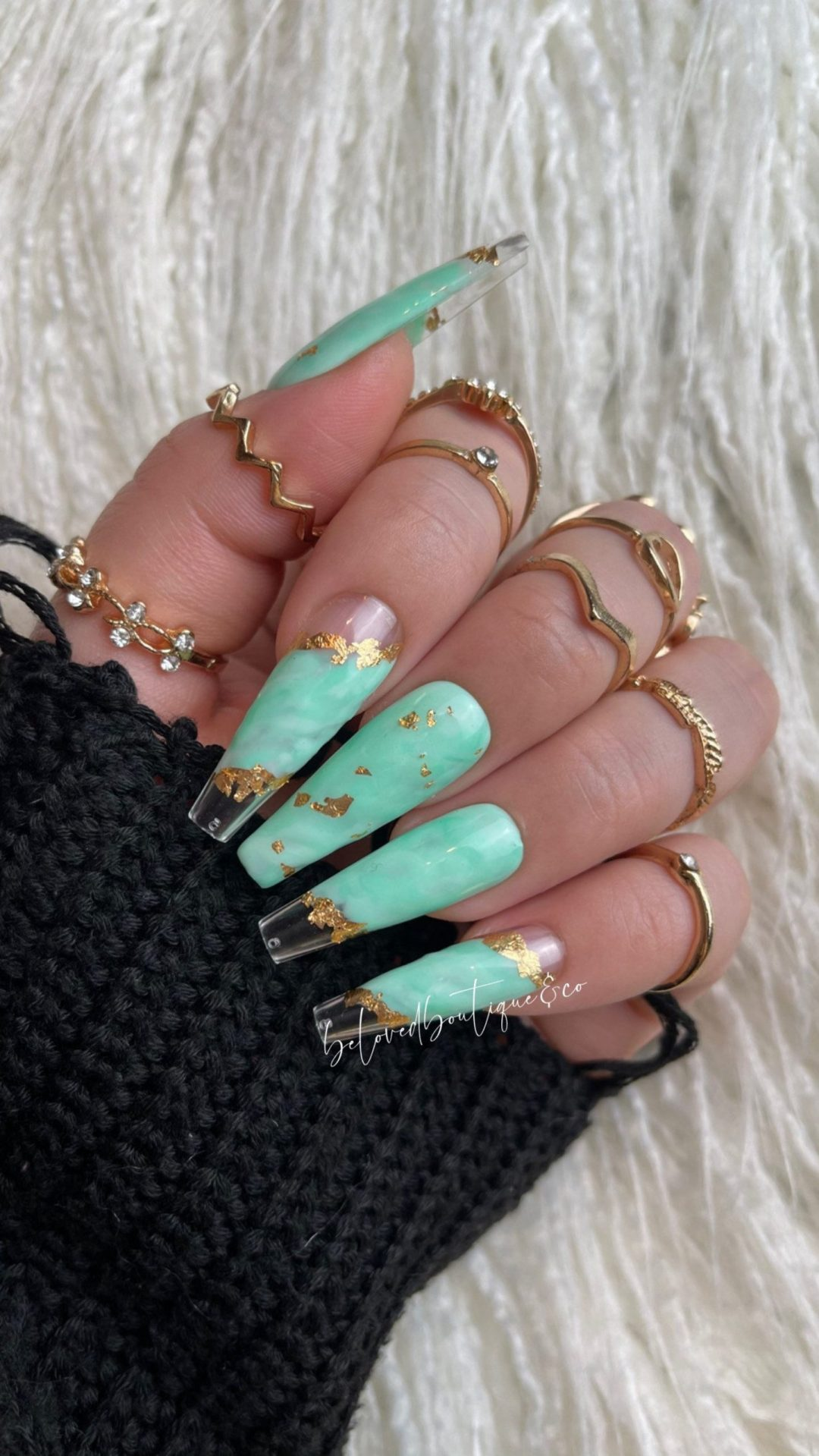 Mint green marble nails with gold specks