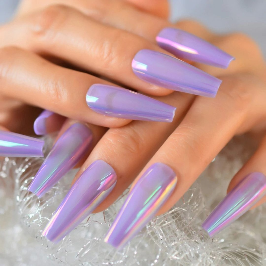 Purple holographic chrome nails