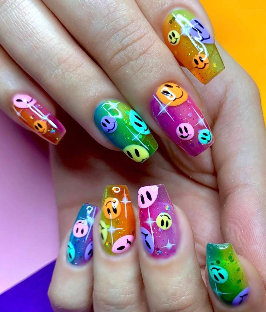 Transparent multicolor smiley birthday nails