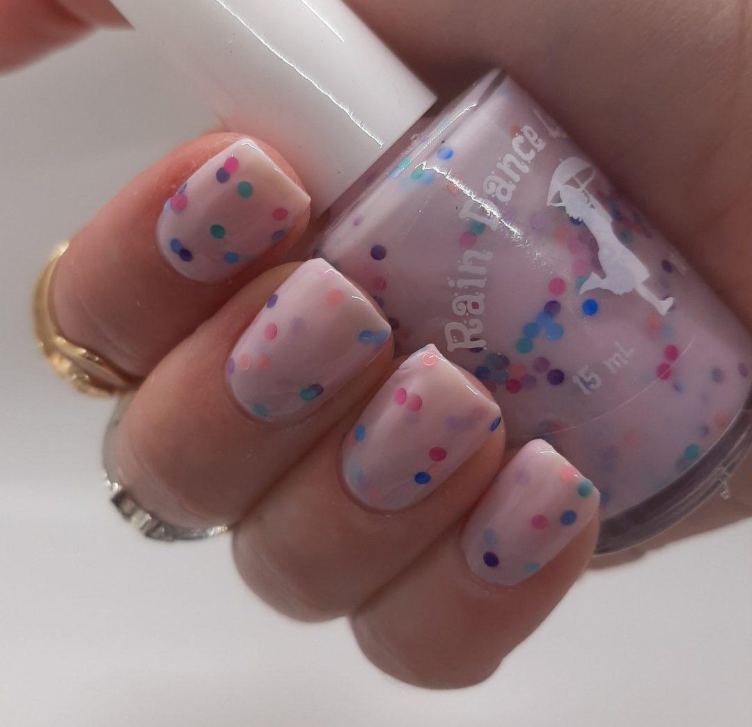 Lilac confetti birthday nail polish