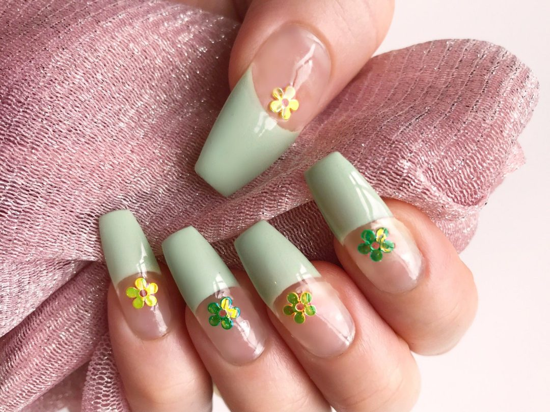 Mint green tips with floral decals