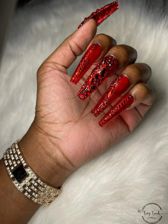 Red rhinestone nails