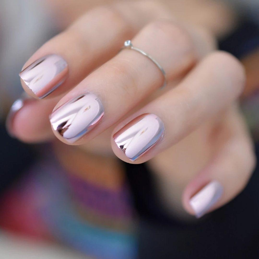 Metallic pink chrome nails