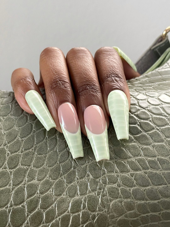 Crocodile print mint green nails