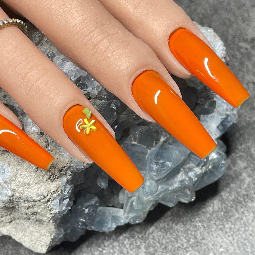 Simple shiny burnt orange nails