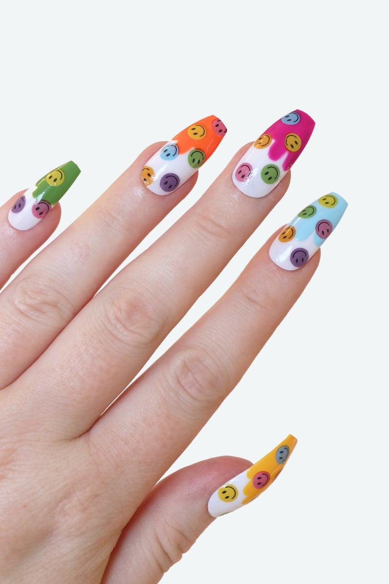 Multicolor smiley face nails