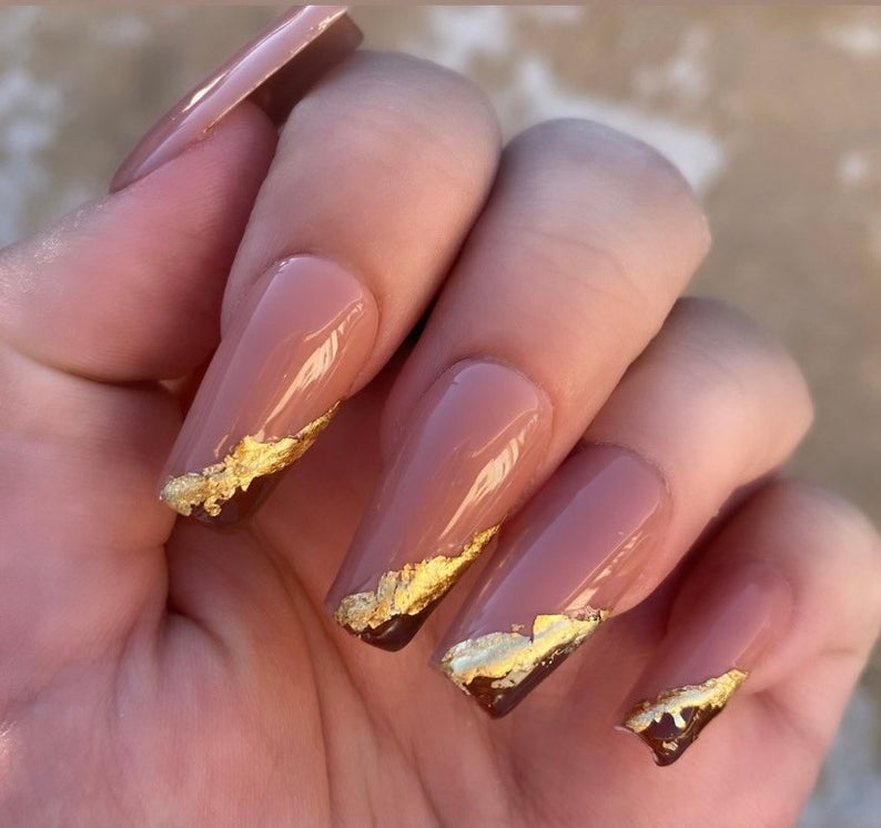 Brown nails with gold specks