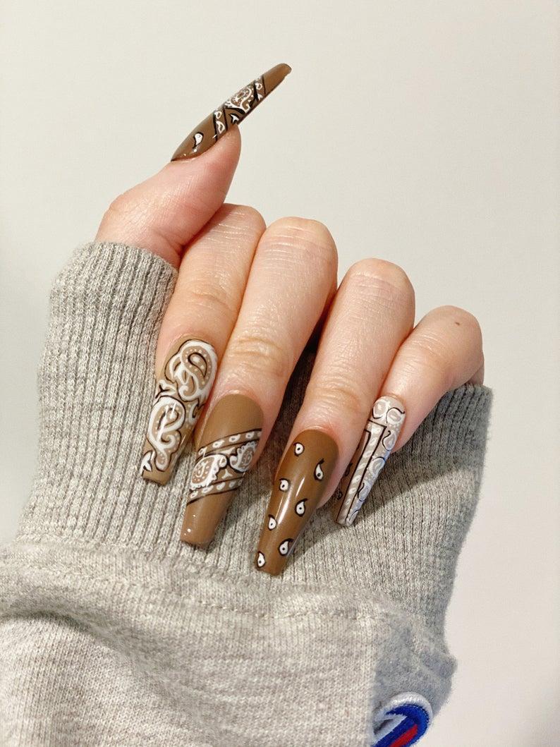 Bandana inspired brown nails