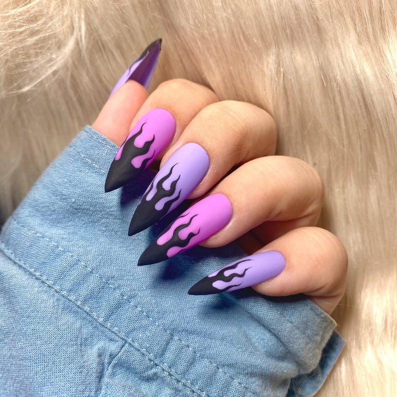 Pink and purple matte flame nails