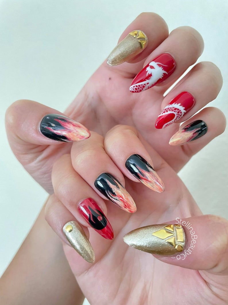 Avatar The Last Airbender fire nails with gold and red polish