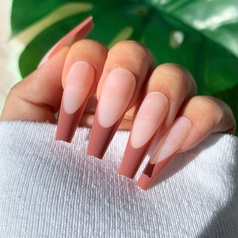 Simple matte brown French tip nails