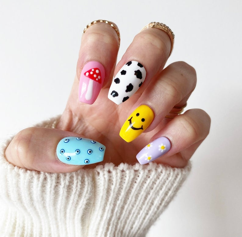 Multi-print smiley face nails