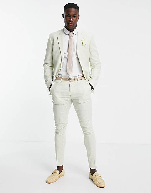 Mens beach wedding outfits in sage green