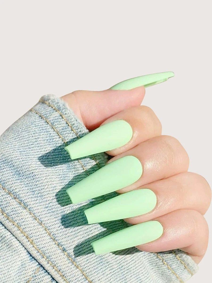 Long matte pastel green coffin nail design