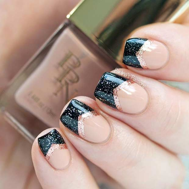 Cute short rose gold and black nails