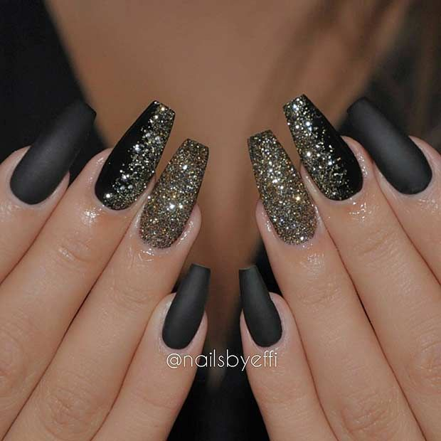 Matte black coffin nails with gold glitter
