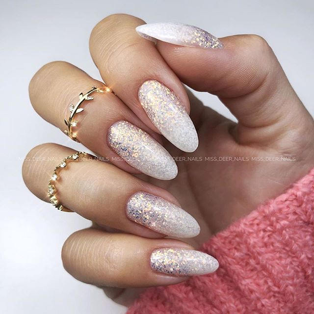 Silver glitter nails for New Years Eve