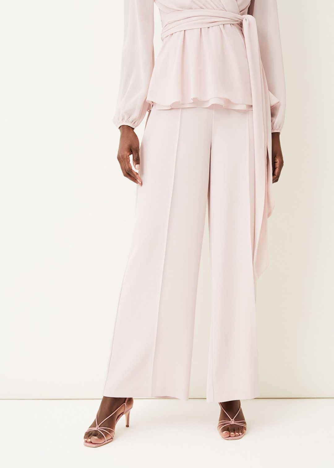 Elegant light pink pant suit trousers with top for mother of groom