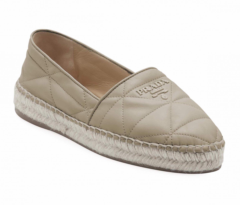 Prada Flat Quilted Leather Espadrilles in beige for best designer espadrilles