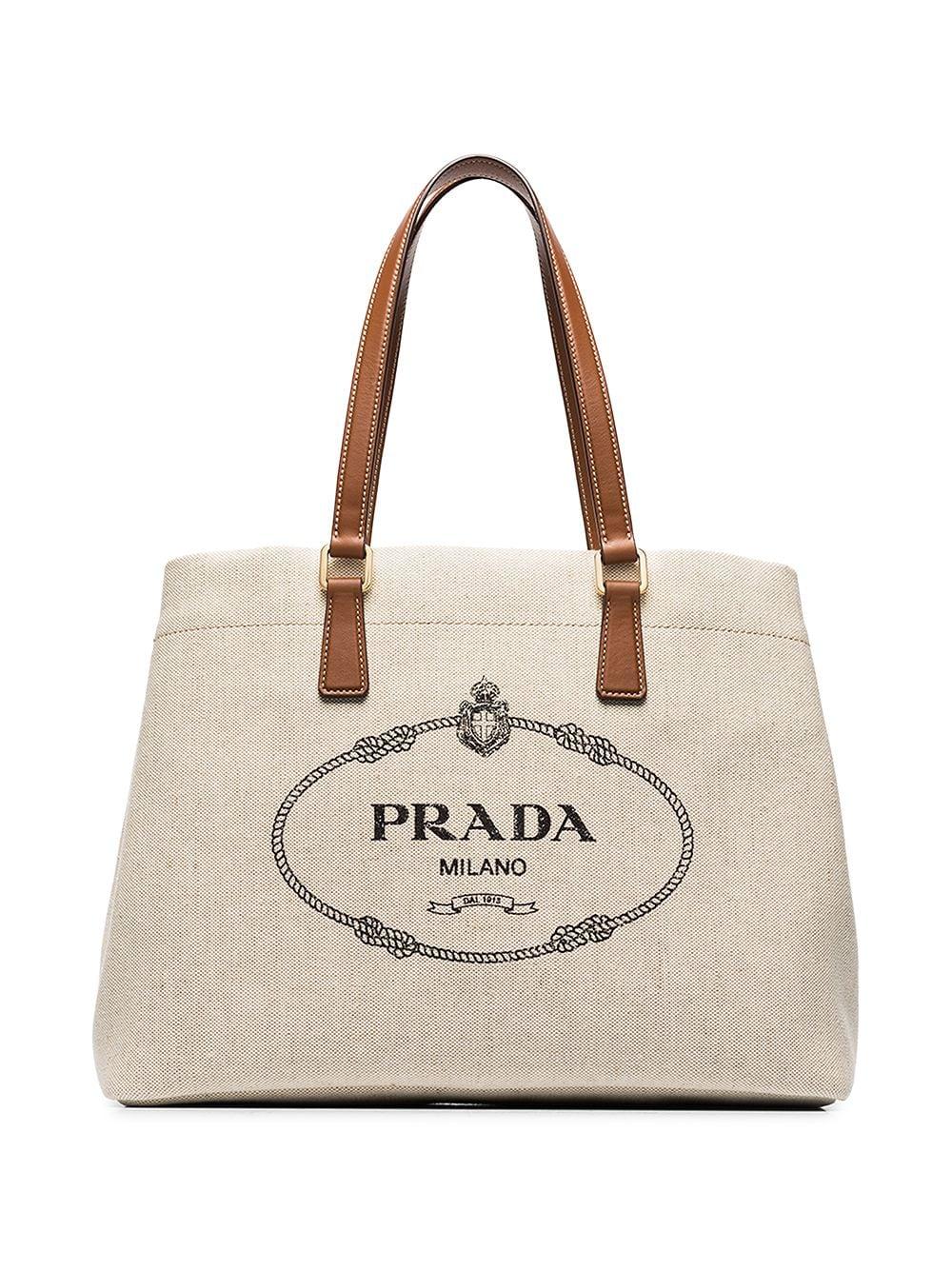 Prada Mistolino Canvas Tote in white for best designer tote bags for travel