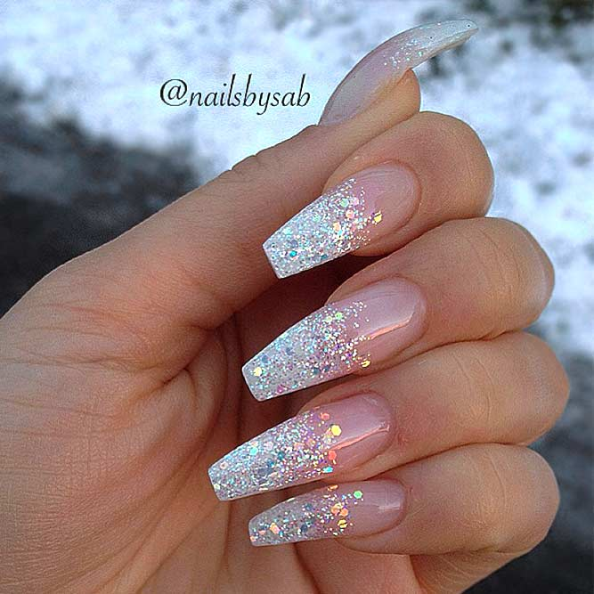 Cute prom nails with silver glitter