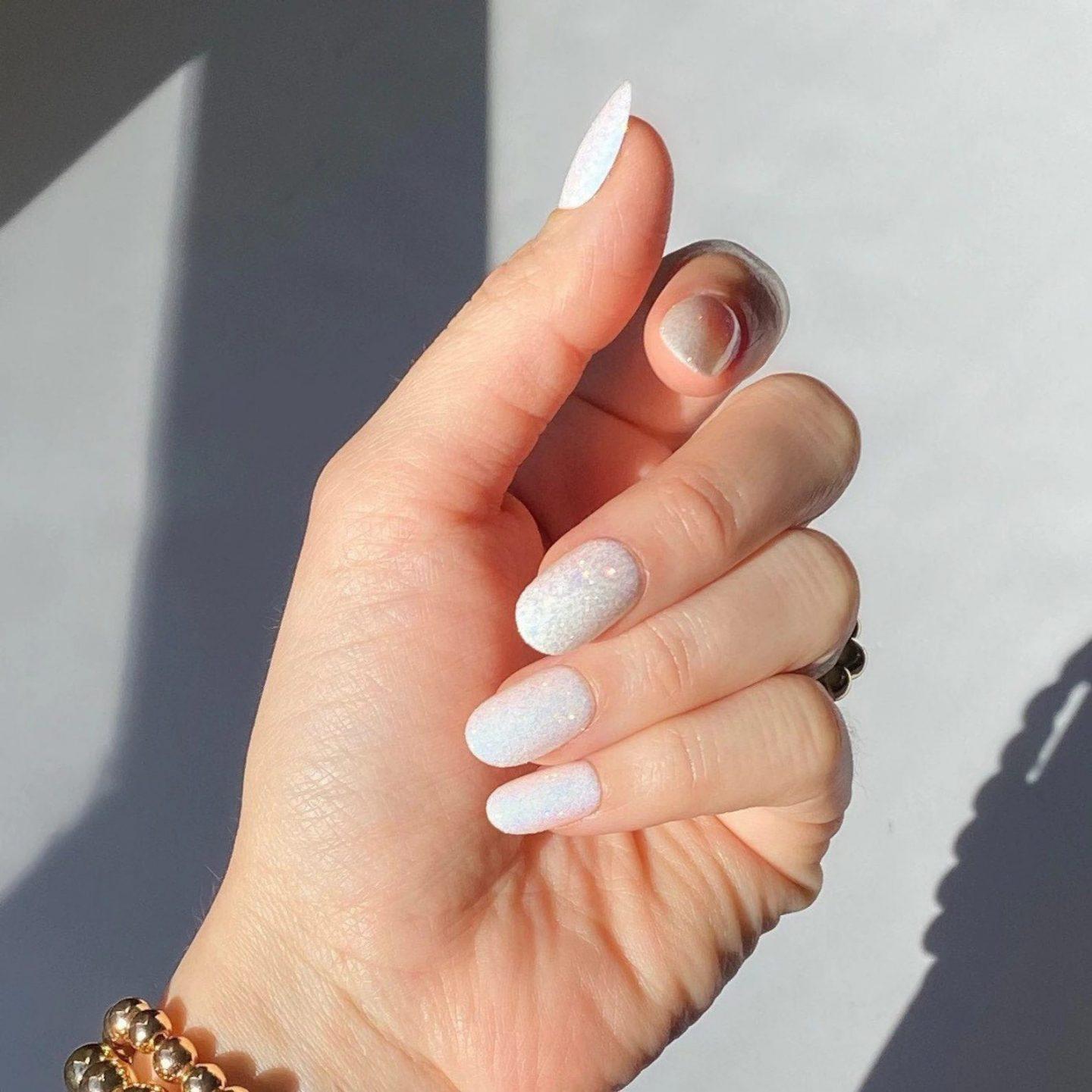 Cute short white iridescent nails
