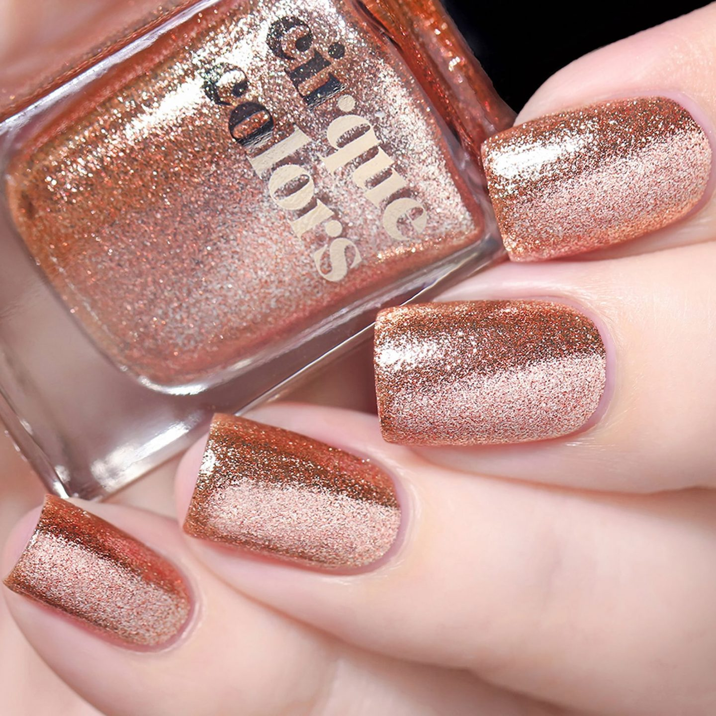 Cute short rose gold nails with glitter