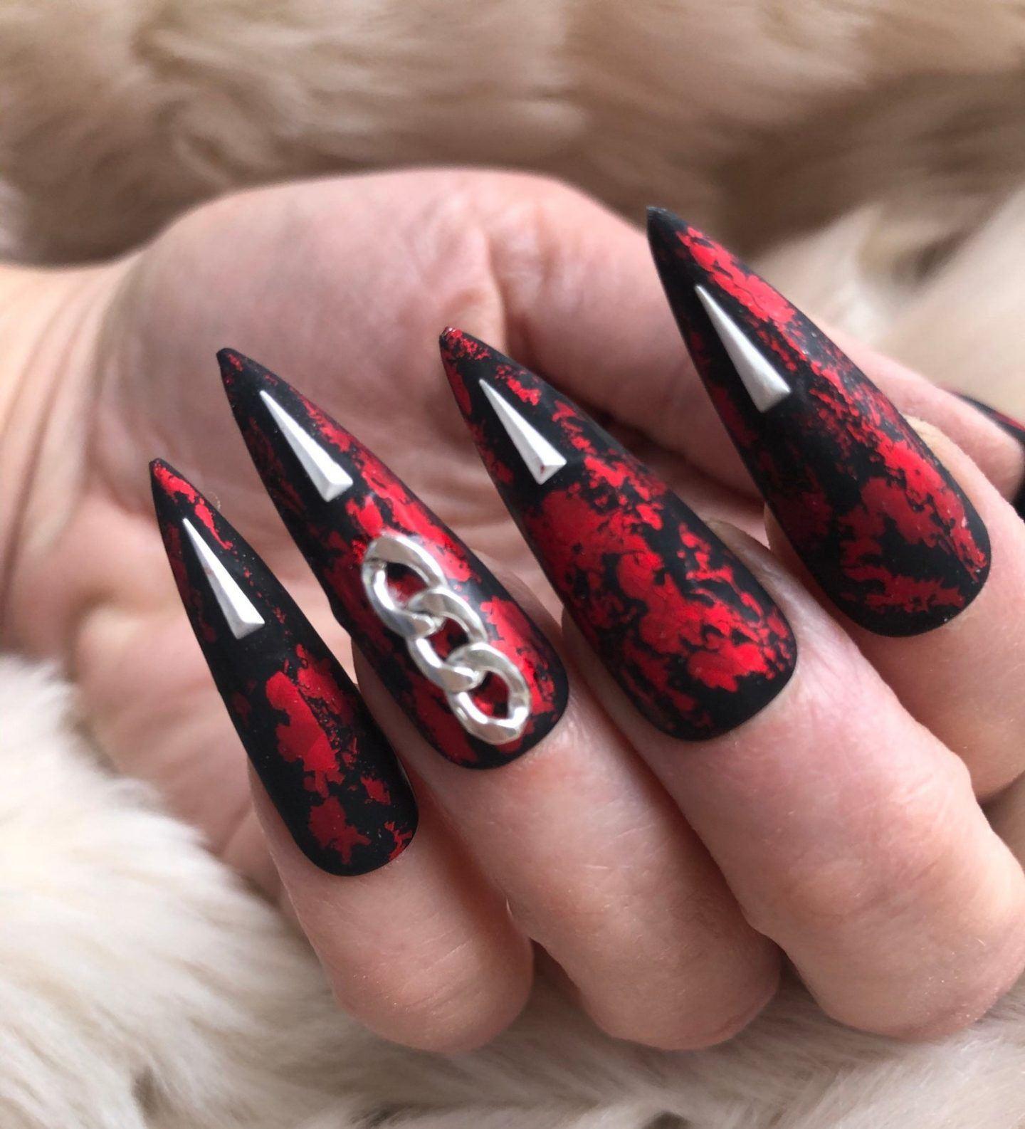 Black and red gothic stiletto nails