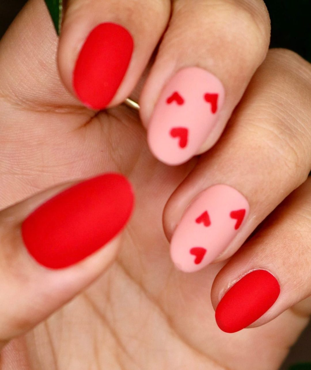 Short pink and red heart nails