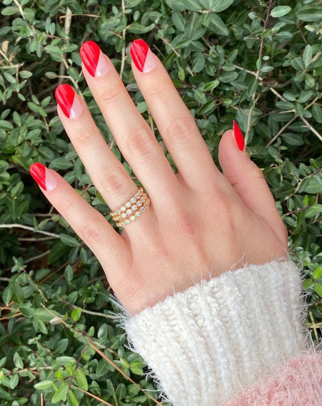 Red negative space French tip nails