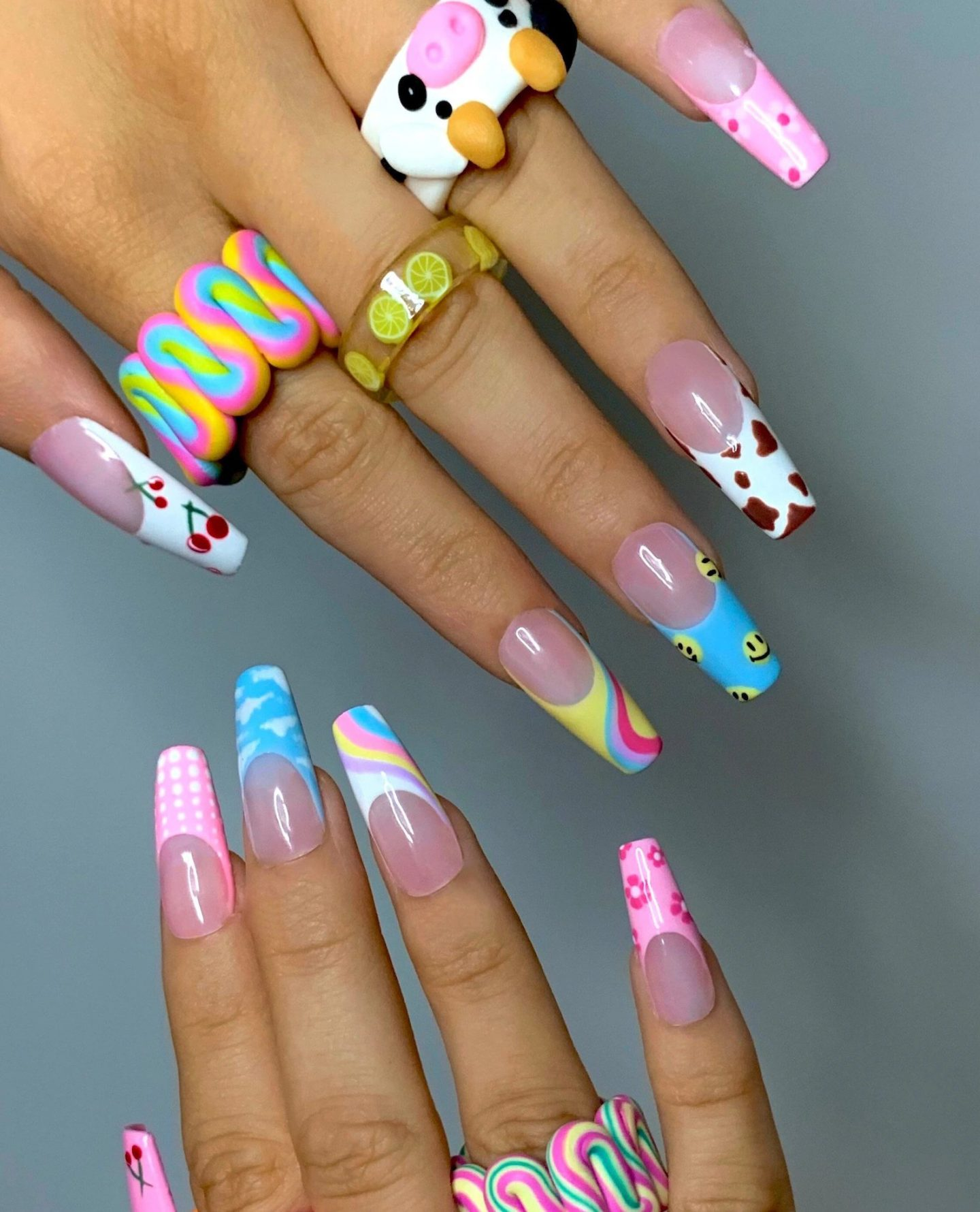 70s colorful pastel French tip nails with smileys