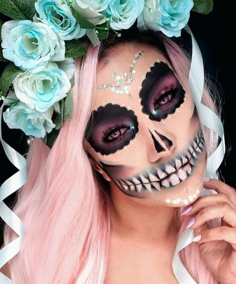Pastel sugar skull look for Day of The Dead Makeup Ideas