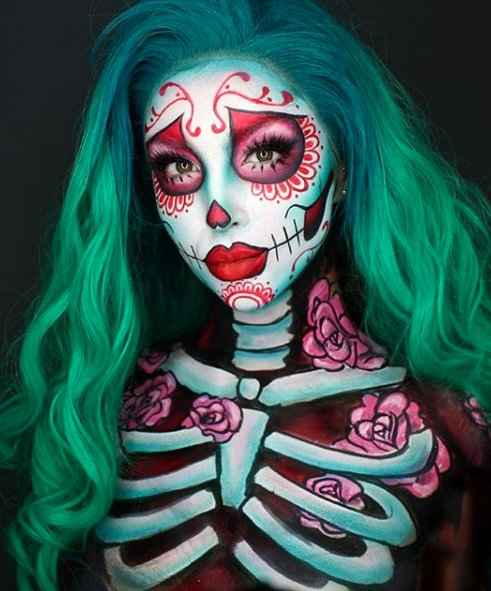 Glowing green sugar skull look for Day of The Dead Makeup Ideas