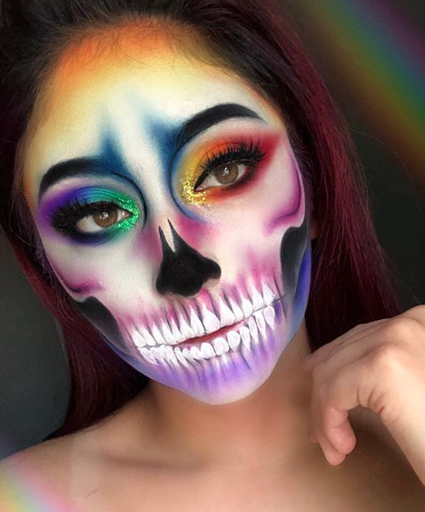 Rainbow skull for Day of The Dead Makeup Ideas