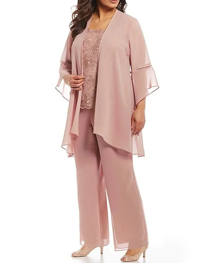Elegant blush pink chiffon pant suit for mother of the groom
