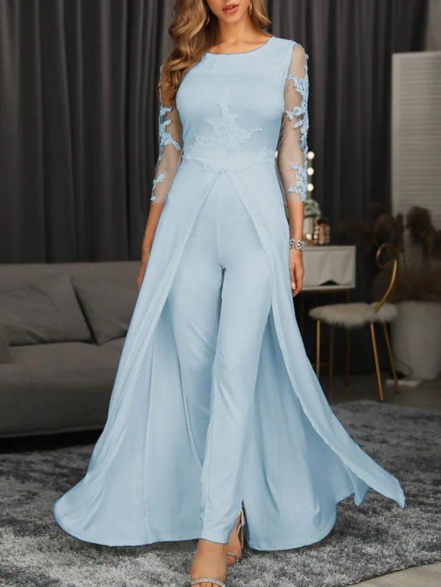 Elegant light blue pant suit for mother of groom