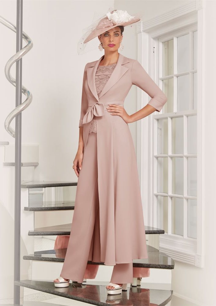 Blush pink trouser suits for mother of groom