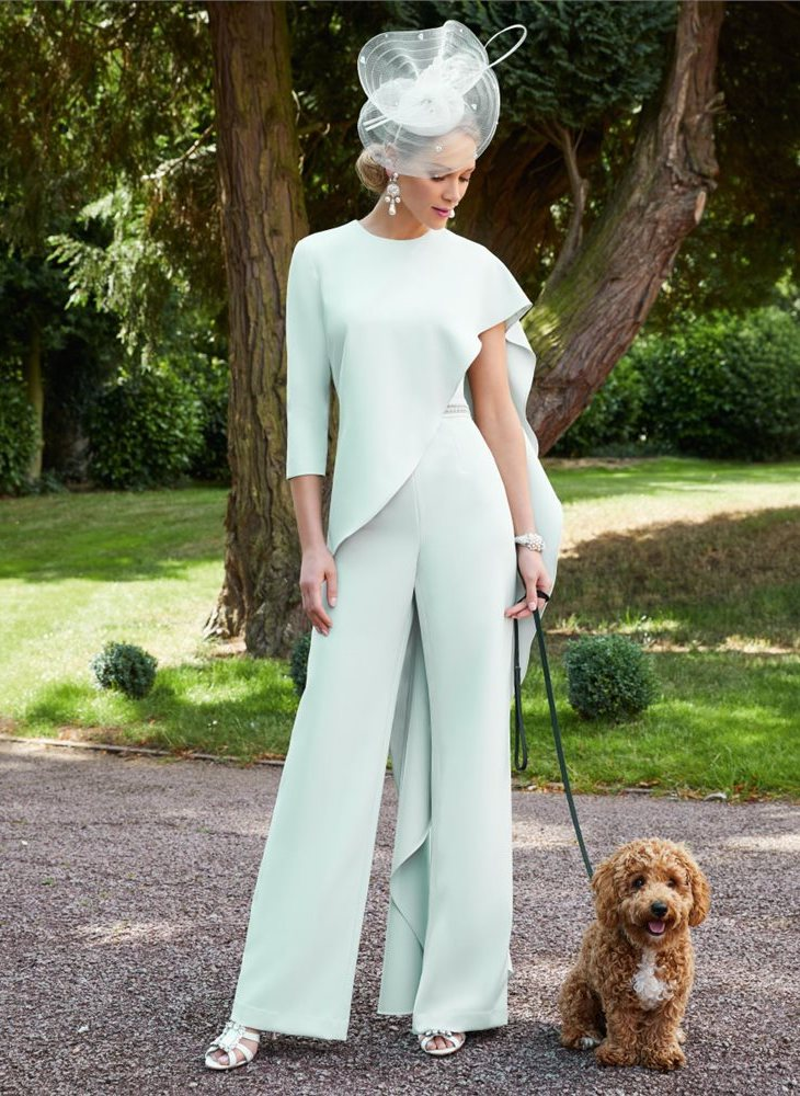 Light mint green trouser suits for mother of groom