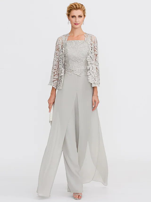 Light grey pant suit for mother of the groom