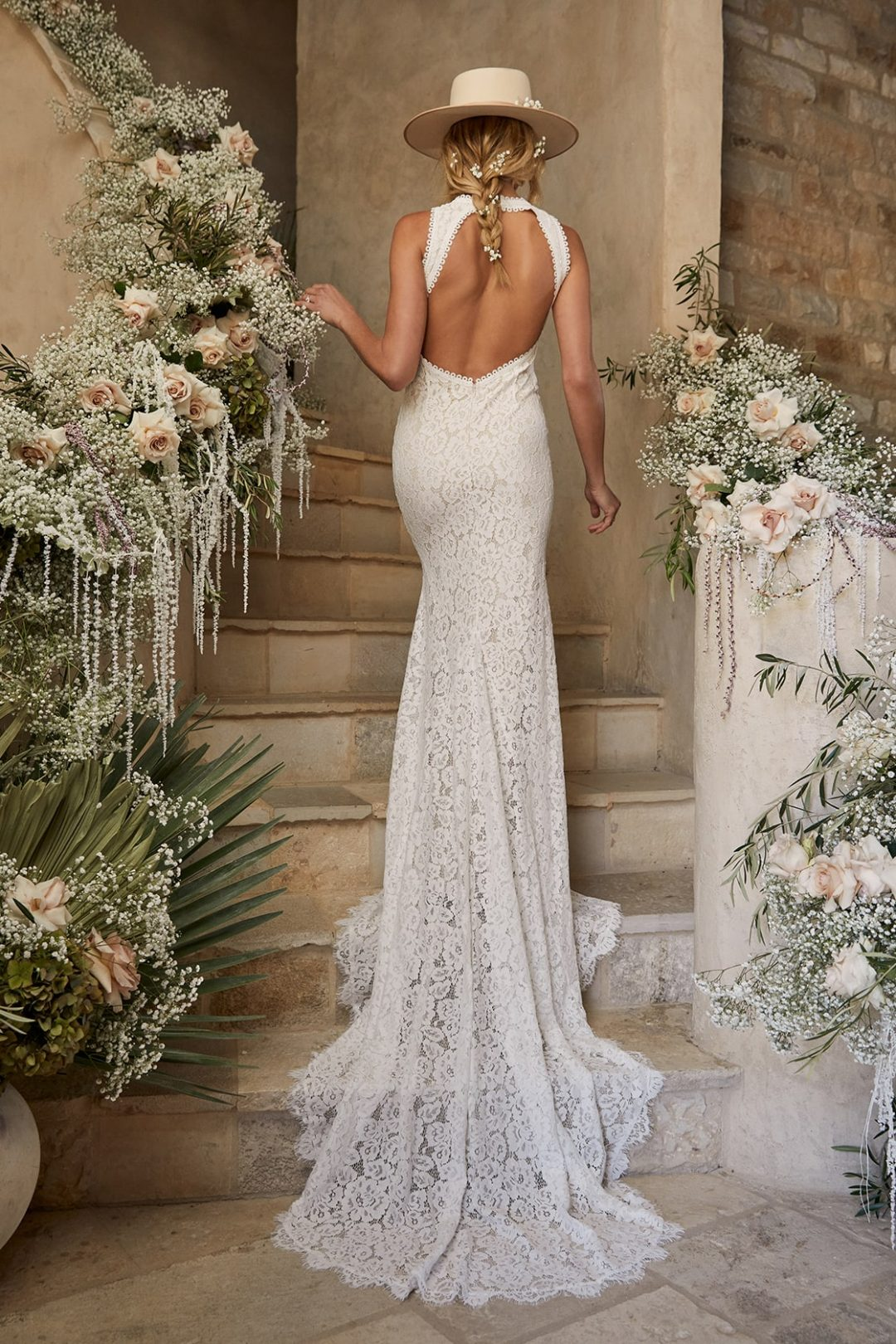 Affordable lace wedding dress with mermaid tail and  backless detail