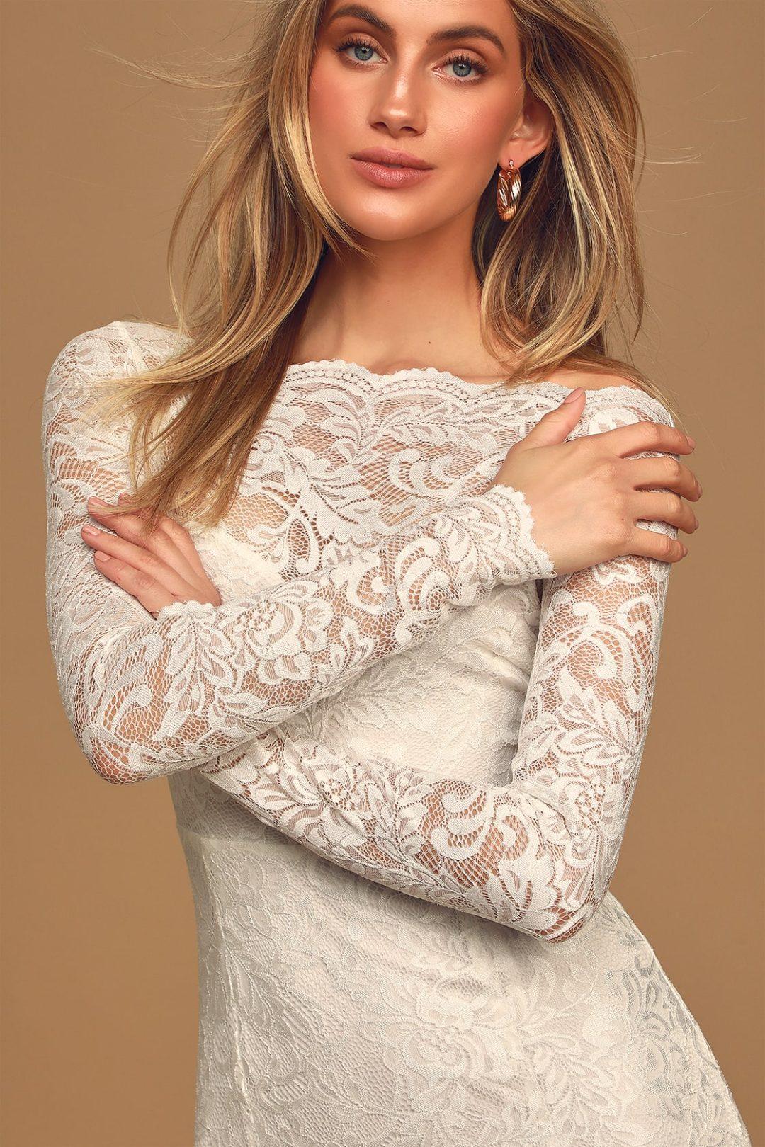 Affordable Kate Middleton inspired long sleeve lace wedding dress under $100