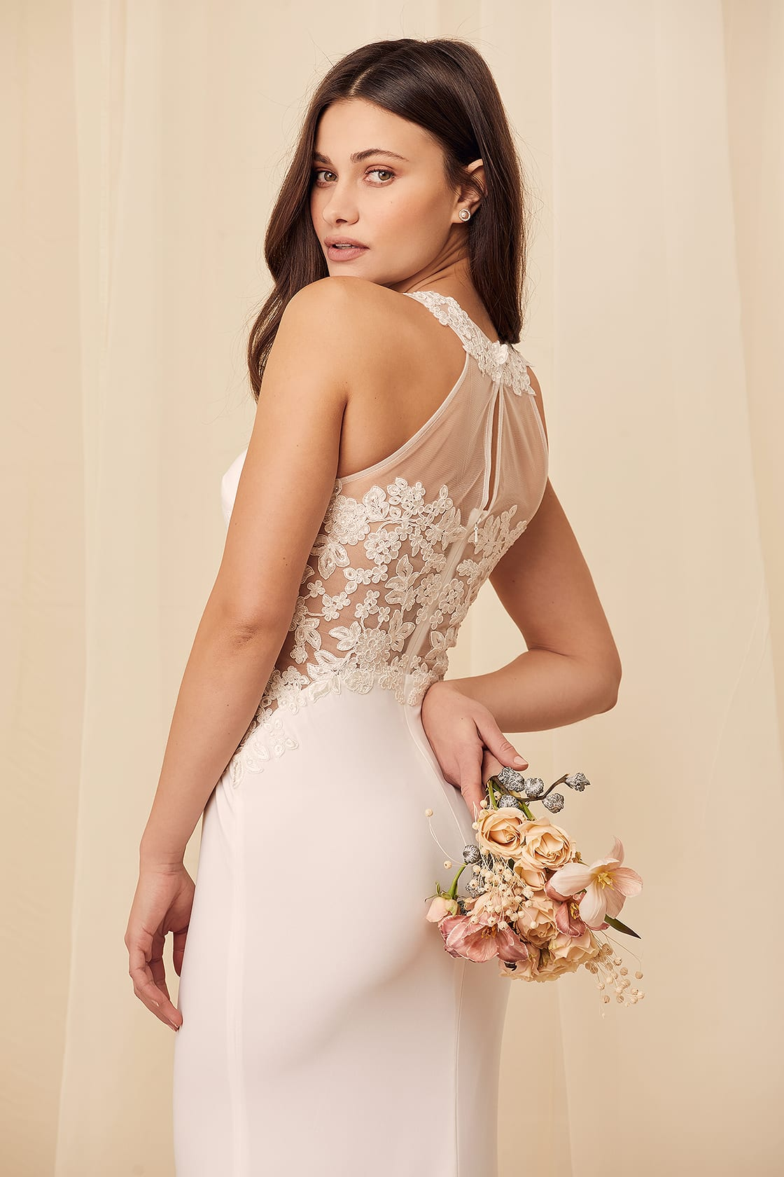 White affordable embroidered lace wedding dress under $100