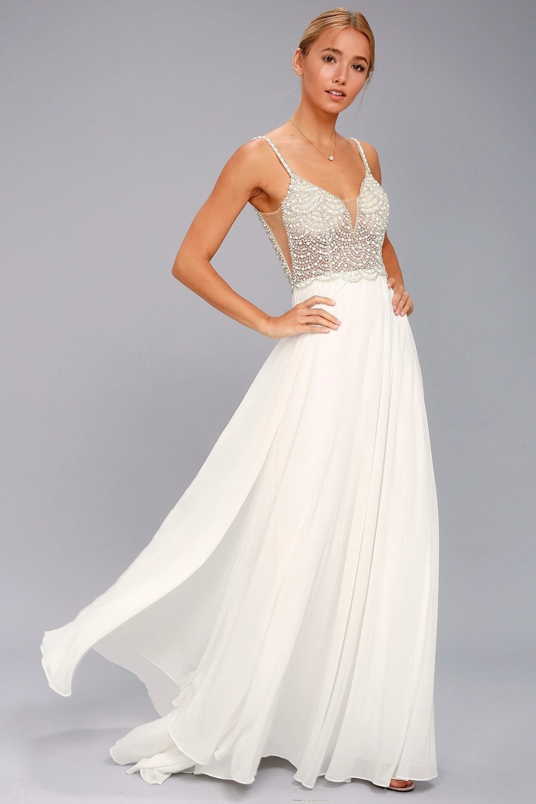 Affordable A-line wedding dress with pearls and rhinestones