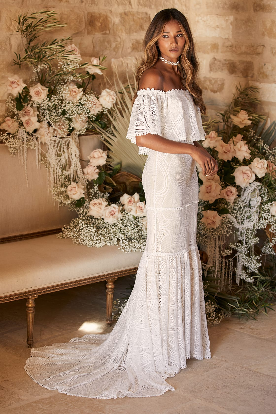 Affordable bohemian lace wedding dress