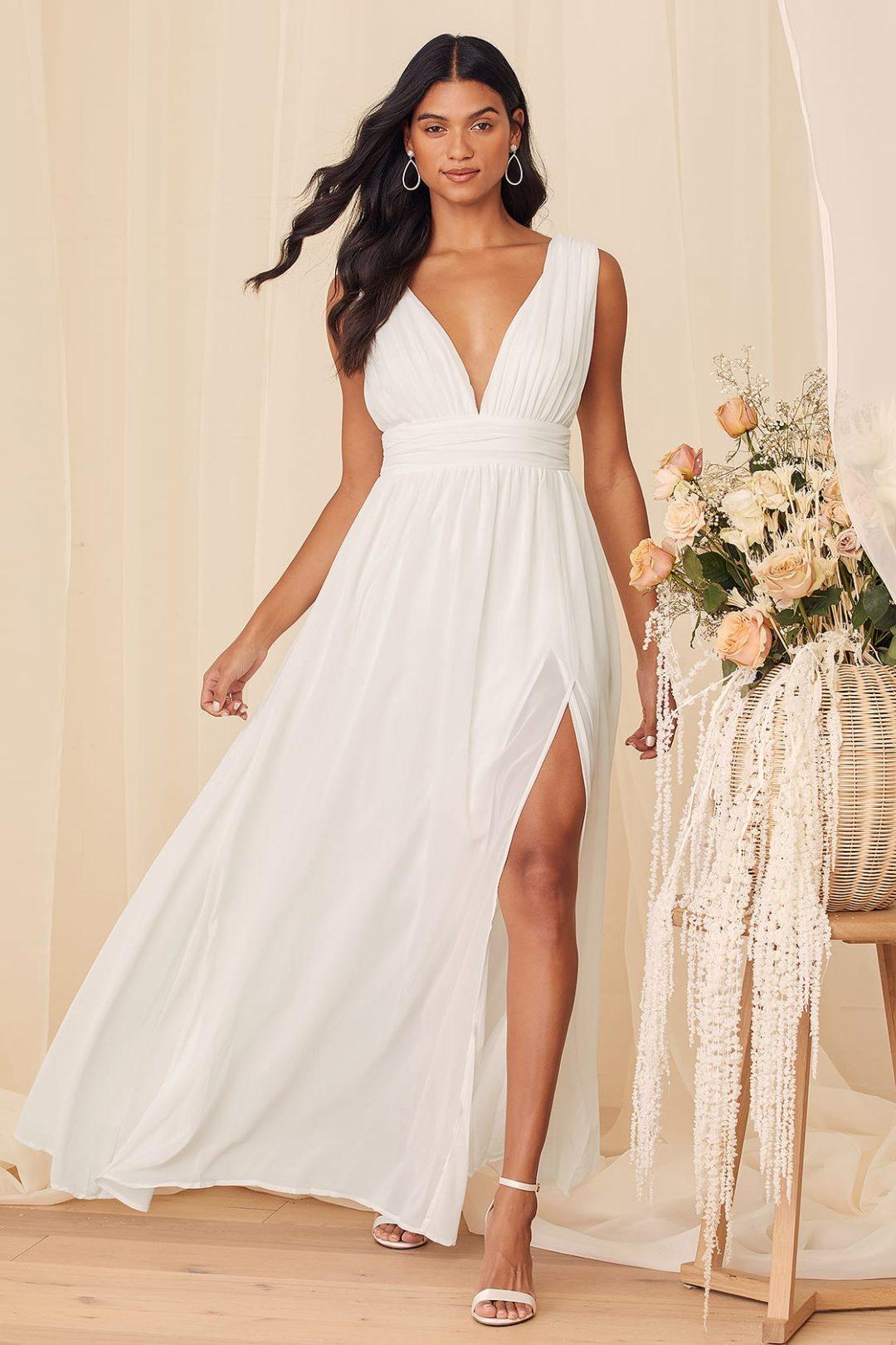 White chiffon wedding dress under $100