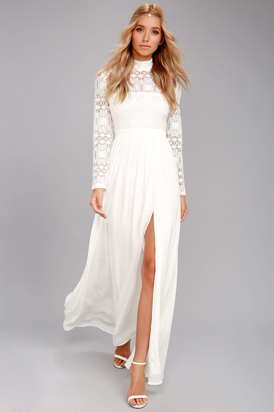 Affordable lace long sleeve white dress with thigh slit