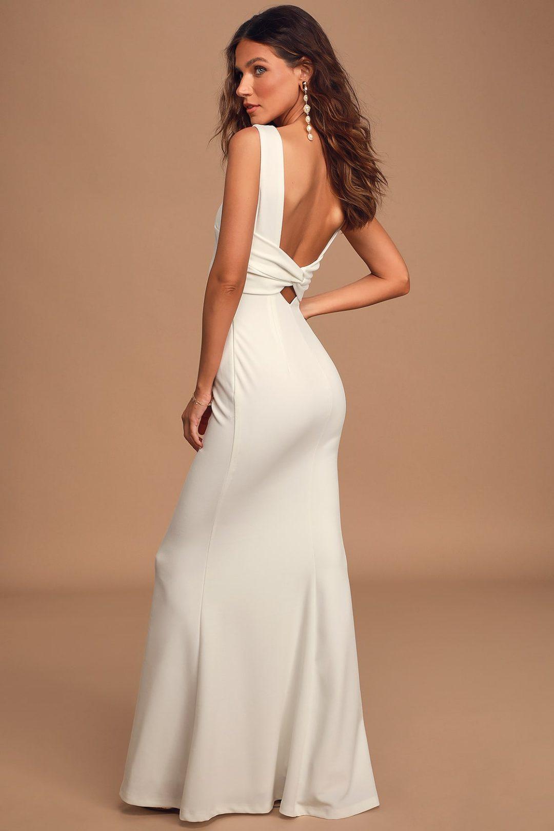 Affordable backless mermaid wedding dress under $100
